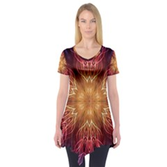 Fractal Abstract Artistic Short Sleeve Tunic