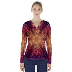 Fractal Abstract Artistic V Neck Long Sleeve Top