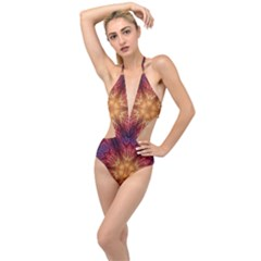 Fractal Abstract Artistic Plunging Cut Out Swimsuit