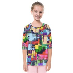 Color Abstract Background Textures Kids  Quarter Sleeve Raglan Tee