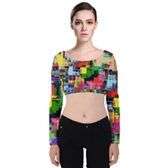 Color Abstract Background Textures Velvet Crop Top by Nexatart