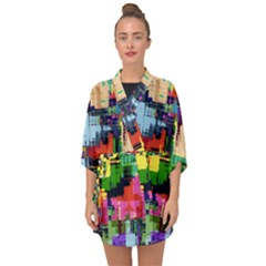 Color Abstract Background Textures Half Sleeve Chiffon Kimono
