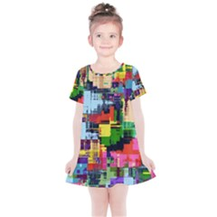 Color Abstract Background Textures Kids  Simple Cotton Dress by Nexatart