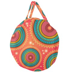 Background Texture Mosaic Pink Giant Round Zipper Tote