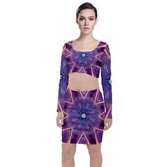 Abstract Glow Kaleidoscopic Light Long Sleeve Crop Top & Bodycon Skirt Set