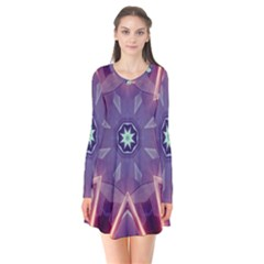 Abstract Glow Kaleidoscopic Light Long Sleeve V Neck Flare Dress