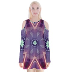 Abstract Glow Kaleidoscopic Light Velvet Long Sleeve Shoulder Cutout Dress