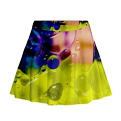 Abstract Bubbles Oil Mini Flare Skirt