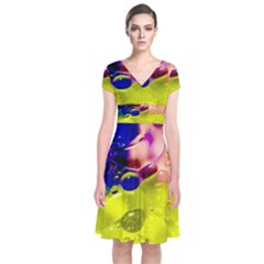 Abstract Bubbles Oil Short Sleeve Front Wrap Dress