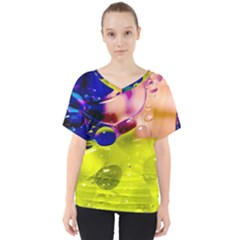 Abstract Bubbles Oil V Neck Dolman Drape Top