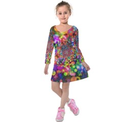 Background Color Pattern Structure Kids  Long Sleeve Velvet Dress
