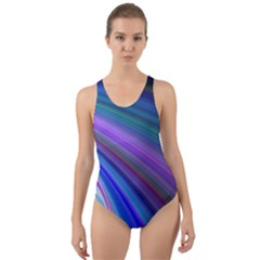 Background Abstract Curves Cut Out Back One Piece Swimsuit
