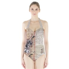 Art Collage Design Colorful Color Halter Swimsuit