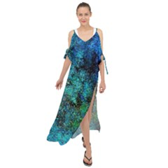 Color Abstract Background Textures Maxi Chiffon Cover Up Dress