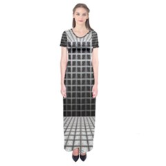 Space Glass Blocks Background Short Sleeve Maxi Dress