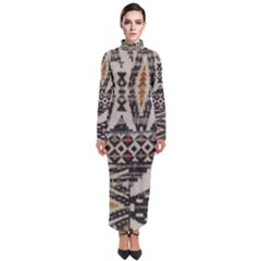 Fabric Textile Abstract Pattern Turtleneck Maxi Dress
