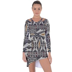Fabric Textile Abstract Pattern Asymmetric Cut Out Shift Dress