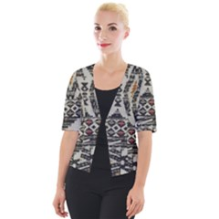 Fabric Textile Abstract Pattern Cropped Button Cardigan