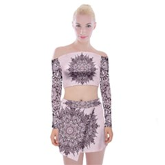 Mandala Pattern Fractal Off Shoulder Top With Mini Skirt Set