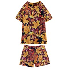 Fall Leaves Pattern Kids  Swim Tee And Shorts Set