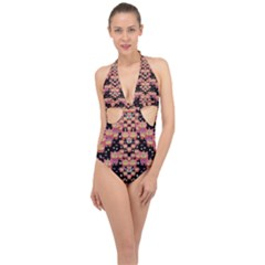 Fantasy Flower Ribbon And Happy Florals Festive Halter Front Plunge Swimsuit by pepitasart