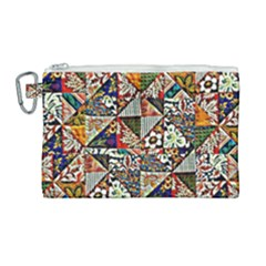 Patchwork Pattern Canvas Cosmetic Bag (large) by bywhacky
