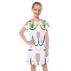 Cat Green Eyes Happy Animal Pet Kids  Drop Waist Dress