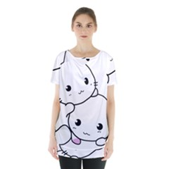 Kitty Cuddling Cat Kitten Feline Skirt Hem Sports Top