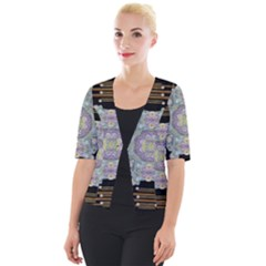 Butterflies And Flowers A In Romantic Universe Cropped Button Cardigan