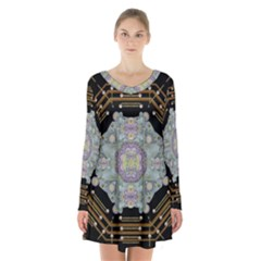 Butterflies And Flowers A In Romantic Universe Long Sleeve Velvet V Neck Dress