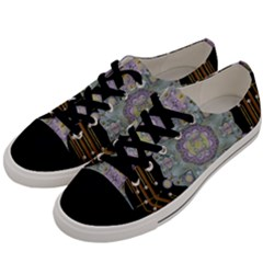 Butterflies And Flowers A In Romantic Universe Men s Low Top Canvas Sneakers by pepitasart