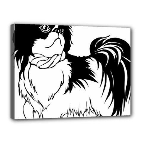 Animal Canine Dog Japanese Chin Canvas 16  X 12  by Sapixe