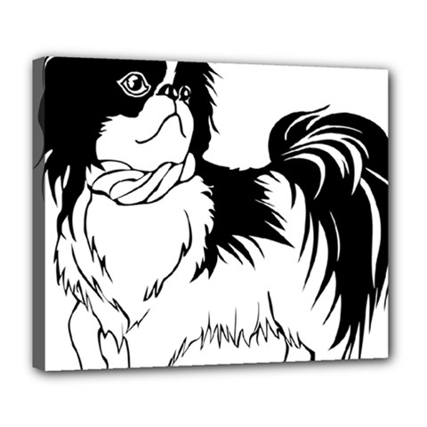 Animal Canine Dog Japanese Chin Deluxe Canvas 24  X 20   by Sapixe