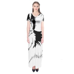 Animal Canine Dog Japanese Chin Short Sleeve Maxi Dress