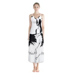 Animal Canine Dog Japanese Chin Button Up Chiffon Maxi Dress
