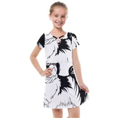 Animal Canine Dog Japanese Chin Kids  Cross Web Dress by Sapixe