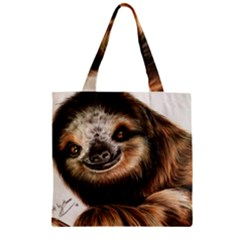 Sloth Smiles Zipper Grocery Tote Bag by ArtByThree