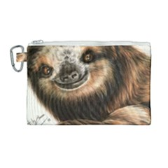 Sloth Smiles Canvas Cosmetic Bag (large) by ArtByThree