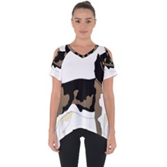 Black White Dog Beagle Pet Animal Cut Out Side Drop Tee