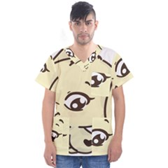 Doggy Dog Puppy Animal Pet Figure Men s V Neck Scrub Top