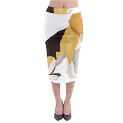 Black Yellow Dog Beagle Pet Midi Pencil Skirt by Sapixe