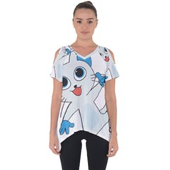 Animal Anthropomorphic Cut Out Side Drop Tee
