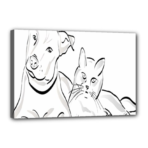 Dog Cat Pet Silhouette Animal Canvas 18  X 12  by Sapixe