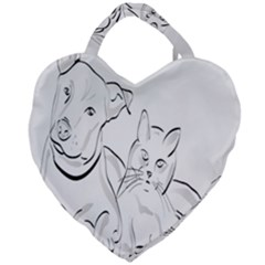 Dog Cat Pet Silhouette Animal Giant Heart Shaped Tote by Sapixe