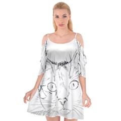 Cat Feline Animal Pet Cutout Spaghetti Strap Chiffon Dress by Sapixe