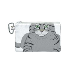 Cat Kitty Gray Tiger Tabby Pet Canvas Cosmetic Bag (small) by Sapixe