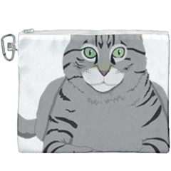 Cat Kitty Gray Tiger Tabby Pet Canvas Cosmetic Bag (xxxl)