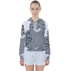 Cat Kitty Gray Tiger Tabby Pet Women s Tie Up Sweat by Sapixe