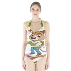 Dog Pet Dressed Point Papers Halter Swimsuit