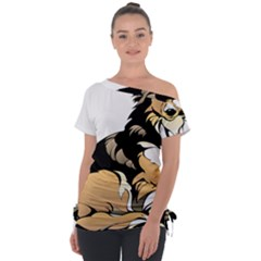 Dog Sitting Pet Collie Animal Tie Up Tee by Sapixe